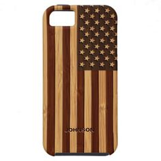 Bamboo Look  Engraved Vintage American USA Flag iPhone 5 Case.  $48.95