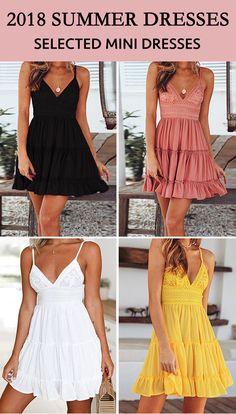 $34.99 Chicnico Cute Back Tie Solid Color Mini Braced Dress --- Black Pink White Yellow Color