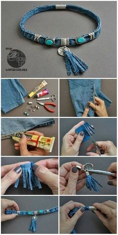 74 great DIY ideas to recycle old jeans - best decoid .- 74 Tolle DIY Ideen, um alte Jeans zu recyceln – Beste Dekoideen 74 great DIY ideas to recycle old jeans - Diy Jeans, Sewing Jeans, Diy With Jeans, Fabric Jewelry, Beaded Jewelry, Handmade Jewelry, Recycled Jewelry, Opal Jewelry, Glass Jewelry