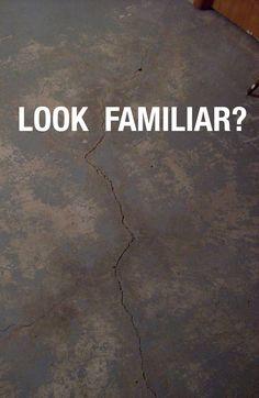 PROBLEM - Crack in basement slab. SOLUTION - Repair the crack permanently using CrackWeld Floor Repair Kit