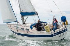 The Hallberg-Rassy 29 yacht 'Osprey' sailing in the Solent.