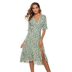 DOLDOA Womens Bohemian Summer Floral Print Wrap Casual Dress V Neck Short Sleeve Beach Party Side High Split Midi Dresses: Amazon.co.uk: Clothing#womendress #fashiondress