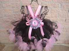 Petti Tutu Dress TINY PINK on BLACK Baby 012 Months by ElsaSieron, $50.00