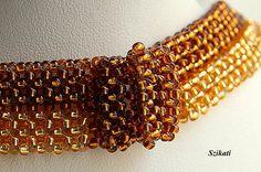 Cuentas collar marrón oro miel joyería de perlas de semilla