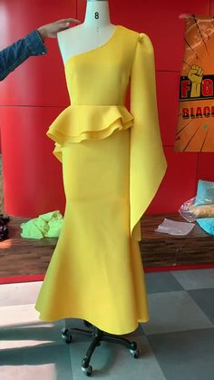 Plus size yellow one shoulder Party dress. Processing time business days after payment . Dress Outfits, Fashion Outfits, Bar Outfits, Vegas Outfits, Woman Outfits, Club Outfits, Dress Fashion, Trendy Dresses, Prom Dresses