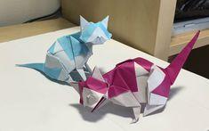 Origami Cat, Origami Animals, Crafty Projects, Halloween, Preschool Activities, Paper Flowers, Paper Crafts, Rabbits, Animals