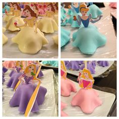 Disney princess pops- Rice Krispie treats, covered in colored fondant, then go to http://family.go.com/disney/pkg-disney-character-fun/pkg-princess-crafts-and-recipes/?categoryid=disney, print the princesses (I recommend photoshop and a sillouhette to print out/cut and use just the tops), glue onto cake pop sticks.
