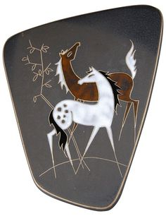 Cavallo, ceramic wall plaque by Hanns Welling for Ruscha, Germany, 1959.