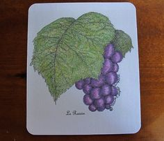 """Mouse Pad with Original Pen and Ink Drawing of """"Le Raisin"""" grape motif"""