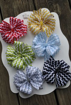Boutique Bow Set - CHEVRON - Double Layer Large Boutique Bow - Chevron Bow. $29.99, via Etsy.