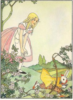 Rie Cramer illustration - Alice and the white rabbit