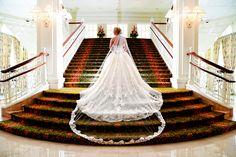 Gorgeous bridal veil and wedding dress at Disney's Grand Floridian Resort