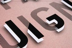 typography / pink / black & white / stripes / graphic design / 3d text / font / bold / mixed pattern / graphic design