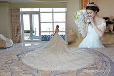 Marian Rivera wearing a stunning Michael Cinco gown with Monarch appliqué Train rivera wedding gown Marian Rivera Wedding Gown, Michael Cinco Gowns, Bridal Beauty, Wedding Gowns, My Style, How To Wear, Train, Beautiful, Weddings