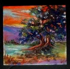 California hot sunset Oak tree Gail Grant paintings impressionist oil painting