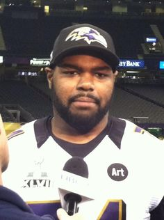 Michael Oher at Super Bowl XLVII Media Days