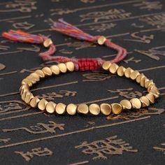 Handmade Tibetan Buddhist Braided Cotton Copper Beads Lucky Rope Bracelet & Bangles For Women Men Thread Bracelets Bracelet Rose Gold, Bracelet Fil, Copper Bracelet, Stone Bracelet, Bracelet Making, Jewelry Making, Tassel Bracelet, Thread Bracelets, Braided Bracelets