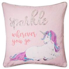 Unicorn Sparkle Square Throw Pillow in Pink. Add a touch of whimsy to your little one's bed with the Unicorn Sparkle Square Throw Pillow. {affiliate link} #unicorn #unicornpillow #unicorndecor