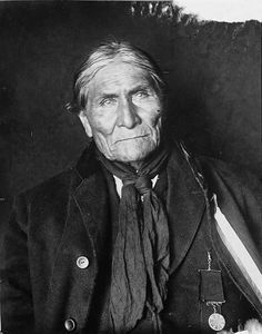 """In February 1909, Geronimo was thrown from his horse while riding home, lay in the cold all night before a friend found him. He died of pneumonia on 2/17/1909, as a prisoner of the U.S. at Fort Sill, OK. His last words were reported to be said to his nephew, """"I should have never surrendered. I should have fought until I was the last man alive."""" He was buried at Fort Sill, OK in the Apache Indian Prisoner of War Cemetery."""
