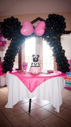 An adorable little girls party idea...Minnie Mouse theme.