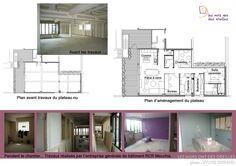 Plan d'un appartement famillial avant/après