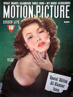 "- Motion Picture Magazine cover ""Gene Tierney"", photo by George Hurrell / March 1942 Star Magazine, Movie Magazine, Old Movies, Vintage Movies, Vintage Posters, Hollywood Actor, Old Hollywood, Running Movies, Laura 1944"