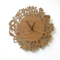 "10"" Modern Wall Clock - It's My Forest - White Oak"