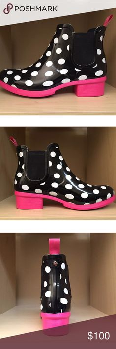 """✨SALE Kate Spade Trudy Chelsea polka dot rain boot Kate Spade Trudy Chelsea polka dot rain boots NWT. Brand new never worn size 5 polkadot black white pink rain boots. Cute and sleek and perfect for spring ☔️.         SOFT LINING, GUSSETED ELASTIC INSETS, RUBBER WATERPROOF, PULL ON RAIN BOOTS 1 1/2 Inch Heel, 4 1/2 Inches In Back CURRENT RETAIL : $150.00  KATE SPADE DESIGNS HAVE BEEN CALLED """" THE ART OF PLAYFUL SOPHISTICATION """" BE IN GREAT STYLE EVEN IN THE RAIN WITH THESE WONDERFUL RAIN…"""