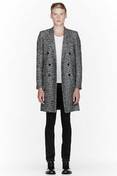 SAINT LAURENT Black and white double-breasted tweed coat