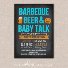 BBQ Baby Shower- BBQ Beer and Baby Talk Theme Party, Gender Reveal, Baby Shower, Invitation,Birthday, on Etsy, $17.26 CAD