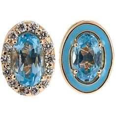 Alison Lou Diamond, topaz, enamel & yellow-gold earrings ($1,065) ❤ liked on Polyvore featuring jewelry, earrings, yellow gold, blue diamond jewelry, stud earrings, gold earrings, long diamond earrings and topaz earrings