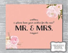 Notes & Wishes Sign 8x10 DIY Wedding Printable by CreativePapier, $5.00