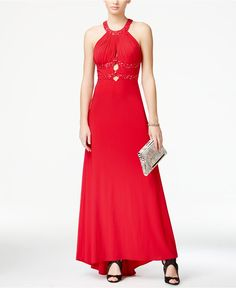 Morgan & Company Juniors' Embellished Cutout Halter Dress - Juniors Shop All Prom Dresses - Macy's