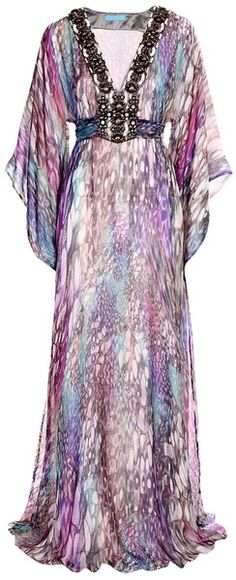 Matthew Williamson Butterfly Degrede Mousseline Long Kaftan in Purple