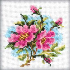 RTO Dog Rose - Cross Stitch Kit. Cross Stitch Kit featuring flowers. This Cross Stitch Kit comes complete with 14 Count Zweigart Aida, pre-sorted DMC floss, Joh