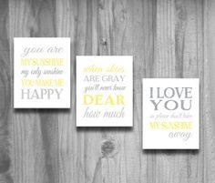 You Are My Sunshine Art Yellow Gray Set Nursery Art  3 Print Baby Shower Gift Baby Boy Bedroom Decor on Etsy, $33.00