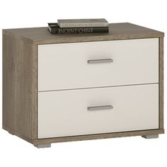 4 You 2 Drawer Low Chest / Bedside Table In Canyon Grey & Pearl White