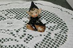 VINTAGE...ESTATE....PIXIE IN BLACK OUTFIT ON LOG.......FIGURINE......JAPAN | eBay