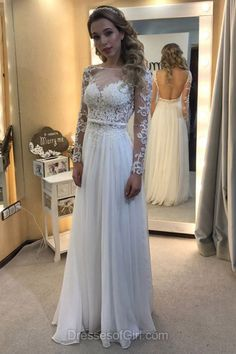 Long Sleeve Prom Dress, White Prom Dresses, Chiffon Evening Gowns, Open Back Party Dresses, Princess Formal Dresses