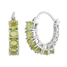 Peridot Sterling Silver Hoop Earrings, Women's, Green