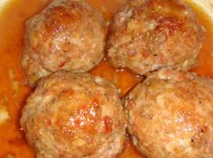 Ham Balls It sounds odd, but it is soooo good! It is a dish a friend of mine turned me on to. She is originally from Pennsylvania and told me it is a penn-dutch recipe. It freezes just beautifully too, just make the sauce up before you bake it. Amish Recipes, Ham Recipes, Supper Recipes, Appetizer Recipes, Cooking Recipes, Appetizers, Meatball Recipes, Yummy Recipes, Recipies