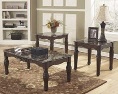 NORTH SHORE SET OF COFFEE TABLE AND 2 END TABLES BY ASHLEY FURNITURE