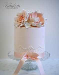 Pretty Pink & Peach Birthday cake with lace and peonies