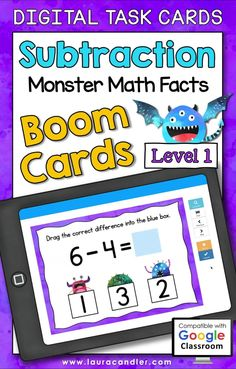 Subtraction Monster Math Facts Level 1 digital self-checking Boom Cards are a fun way for students to develop fluency with subtraction facts.#BoomCards #DigitalTaskCards #DistanceLearning #subtraction #subtractionfacts #mathboomcards #mathfun #mathfactpractice Teacher Hacks, Best Teacher, Homeschooling Resources, Teaching Resources, Active Engagement, Math Fact Practice, Engage In Learning, Math Facts, Elementary Education