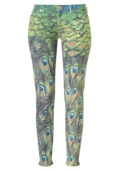 Peacock print multicolored slim fit jeans from 7 for all mankind.
