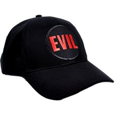 ef3e95c1 Evil Black Red Baseball Cap Hat EPT-333-Cap (€11) ❤ liked on Polyvore  featuring accessories, hats, embroidered baseball caps, red hat, adjustable  baseball ...