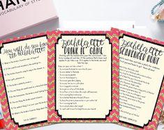 INSTANT DOWNLOAD printable bachelorette games / bachelorette party games / bachelorette game bundle / drink if game / scavenger hunt