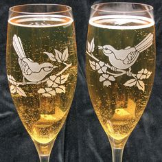 NEW Lovebird Wedding Champagne Glasses, Personalized Songbird Champagne Flutes. $75.00, via Etsy.