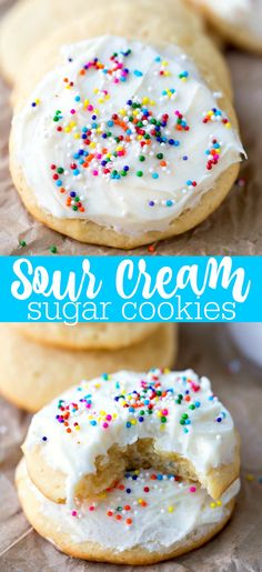Sour Cream Sugar Cookies - easiest sugar cookie recipe! No rolling or cutting necessary!
