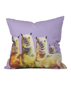 Bring a splash of whimsy into any nook or bedroom with this throw pillow. With a playful llama print and a rich color palette, it's sure to add a comfy pop of pizzazz wherever it's placed. Designed by Clara NillesPolyesterSpot cleanMade in the USA